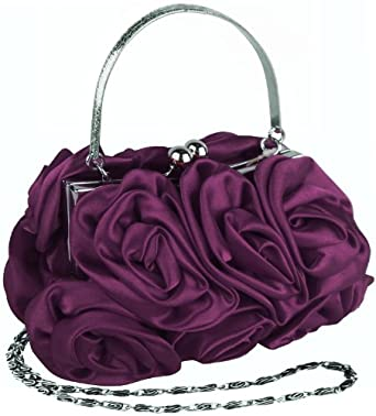 MG Collection Purple Rosette Evening Handbag