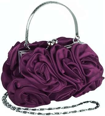 MG Collection Purple Rosette Evening Handbag