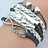 BlueTop(TM) Vintage Infinity Love Two Heart One Direction Rope Knit Navy Leather Bracelet