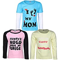 Goodway Pack of 3 Girls Full Sleeve Colour T-Shirts Mom & Dad Theme-2-3-4Years