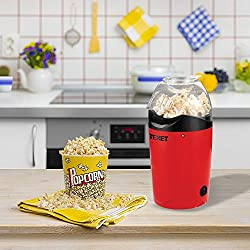 Texet Plastic 1200 Watt Oil Free 2 minute Popcorn Maker with serving bowl, Red