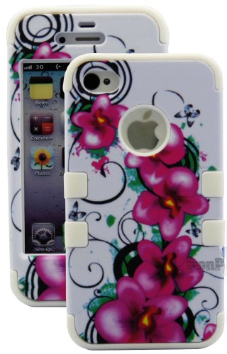 Mylife (Tm) White - Tropical Flowers Series (3 Piece Protective) Hard And Soft Case For The Iphone 4/4S (4G) 4Th Generation Touch Phone (Fitted Front And Back Solid Cover Case + Internal Silicone Gel Rubberized Tough Armor Skin)