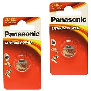 2 x Panasonic 1632 CR1632 3V Lithium batteries