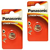 2 x Panasonic 1632 CR1632 3V Lithium batteries