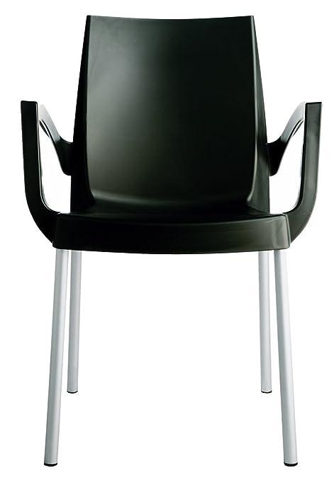 Grandsoleil upon Boulevard standard poltrona impilabile con gambe in alluminio, in polipropilene, antracite, 52x 56x 85cm
