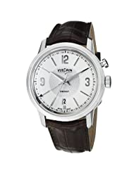 Vulcain 50s President's Men's Silver Dial Mechanical Alarm Watch 110151.281L