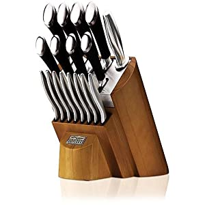 Chicago Cutlery 1090390 Fusion 18-Piece Knife Block Set, Stainless Steel with Honey Maple... by Chicago Cutlery