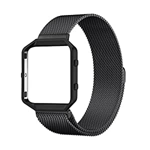 Fitbit Blaze Accessory Band(6.2-9.3inch), ZOEKO Rugged Metal Frame Housing+ with Magnet Lock Milanese loop Replacement Band Magnetic Buckle Wrist Band For Smart Fitness Watch ( Black)