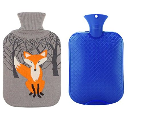 Premium Classic Transparent Hot/Cold Water Bottle w/ Cute Knit Cover (2L, Blue / Gray with Fox) (Ice Blue Contacts)