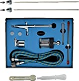 New Professional Sunction Gravity Feed Double Action Airbrush Spray Gun Kit with 0.25mm+0.3mm+0.5mm needle