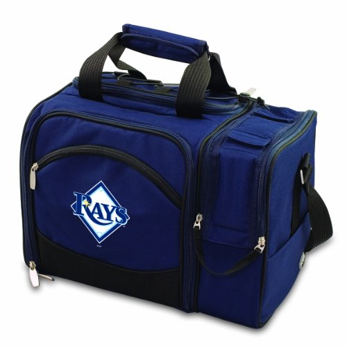 MLB Tampa Bay Rays Malibu Insulated Shoulder Pack with Deluxe Picnic Service for Two