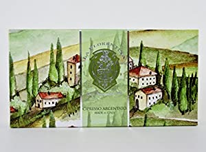 La Florentina Cypress Silver Luxury Italian Soap, 3 x 5.3 oz / 150g, Imported from Italy