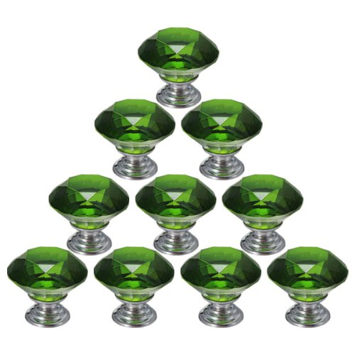 10PCS 30mm Crystal Glass Diamond Shape Cabinet Knob Cupboard Drawer Pull Handle - 1