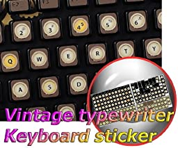 VINTAGE TYPEWRITER ENGLISH US NON-TRANSPARENT KEYBOARD LABELS ON BROWN BACKGROUND