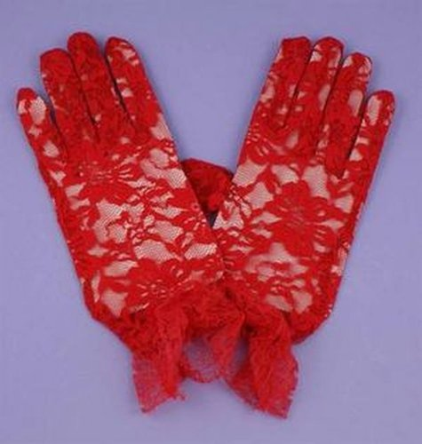 Sexy Gothic Burlesque Pin Up Red Floral Lace Short Full Hand Fancy Dress Gloves
