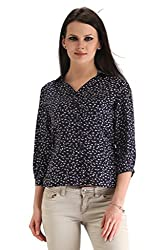 ZAIRE Women's Fashionable Printed 3/4 Sleeves Cotton Rayon Top (2270-3/4TH,Navy Blue,L)