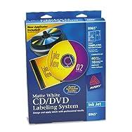 CD/DVD Design Kit, Matte White, 40 Inkjet Labels and 10 Inserts