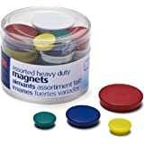 Officemate Heavy Duty Magnets, Assorted Sizes and Colors, 30 per Tub (92501)