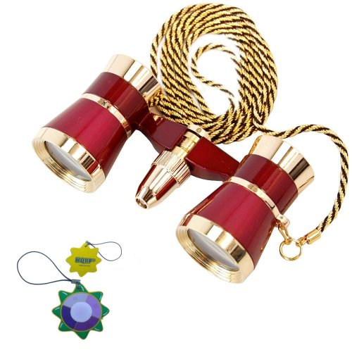 Hqrp 3 X 25 Opera Glasses / Binocular Burgundy With Golden Trim And Golden Necklace Chain Plus Uv Meter
