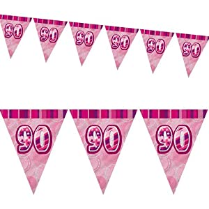 12ft Pink Sparkle Happy 90th Birthday Pennant Flag Banner Party Decoration . by Unique