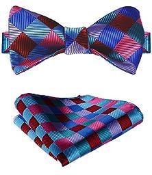 SetSense Men\'s Plaid Jacquard Woven Self Bow Tie Set One Size Pink / Blue