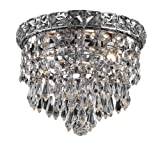 Elegant Lighting 2526F8C/RC Tranquil 7-Inch High 2-Light Flush Mount, Chrome Finish with Crystal (Clear) Royal Cut RC Crystal Reviews