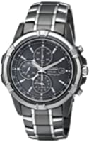 Stainless Steel Case and Bracelet Black Tone Dial Date Display Solar Alarm Chronograph