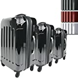 Vojagor® TRSE01schwarz trolley valigia set da 3 in nero
