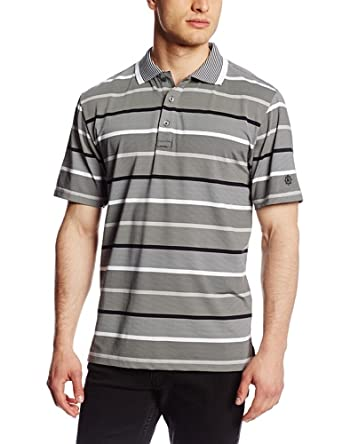 Ben Hogan Men's Golf Performance On End Stripe Short Sleeve Polo Shirt with Collar Tipping, Caviar, Medium