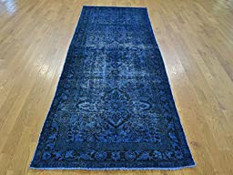 3 x 10 RUNNER HAND KNOTTED OVERDYED BLUE PERSIAN TABREZ ORIENTAL RUG G23823