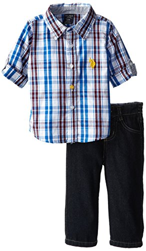 U.S. Polo Assn. Baby-Boys Infant Long Sleeve Sport Shirt And Jeans Set, Strong Blue, 12 Months front-660590