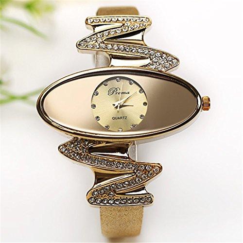Retro Gold Leather Strap Brand Women Watch Strass Rhinestone Jewelry Quartz Wrist Watches 1
