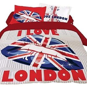 housse de couette 220x240 london lips 2 taies 100 coton cuisine maison. Black Bedroom Furniture Sets. Home Design Ideas
