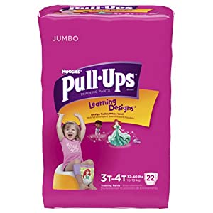 Pull-Ups Training Pants for Girls, Size 3T-4T, 22 Count