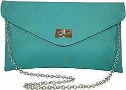 Patzino Fashion Collection, Faux Leather Women\'s Envelope Clutch/ Purse (Green)
