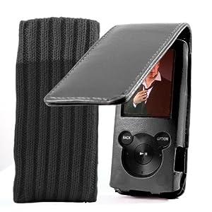EASYi - Luxury Black Genuine Leather Flip case & Sock for Sony Walkman E Series 2011/12 Model 4GB 8GB (NWZ-E464B.CEW, NWZ-E464R.CEW, NWZ-E464P.CEW, NWZ-E464G.CEW, NWZ-E464L.CEW, NWZ-E463B.CEW, NWZ-E463R.CEW, NWZ-E463P.CEW, NWZ-E463G.CEW, NWZ-E463L.CEW)