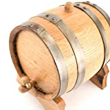 Oak Beverage Dispensing Barrel with Galvanized Steel Bands - 5 Liter