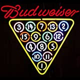"Budweiser 15 Ball Rack Billiards Neon Sign on Metal Grid (Multicolor) (25""H x 21""W x 4""D)"