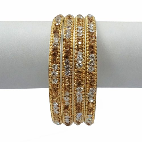 Iba Gold Tone Traditional CZ Kundan Bangle Set Indian Bollywood Wear Party Jewellery Wedding Bridal Jewellery Bracelet Gift 2*6