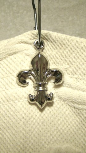 SB 170SC Fleur De Lis Shower Curtain Hook Add-on - Shiny Chrome Electroplate Finish -12pcs - ** Free Standard Silver Shower Curtain Hooks with Purchase