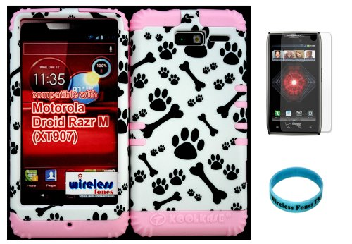 Hybrid Cover Bumper Case For Motorola Droid Razr M (Xt907, 4G Lte, Verizon) Bones And Paws Design Pattern Snap On + Baby Pink Silicone (Included Wristband And Screen Protector By Wirelessfones Tm) front-525039