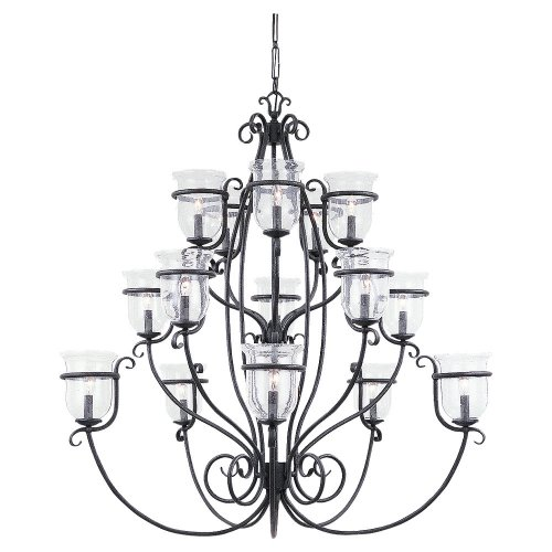 Sea Gull Lighting 3405-07 Fifteen-Light Manor House Chandelier, Weathered Iron Finish with Clear Seeded Glass Shades