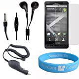 SumacLife Motorola Droid X DroidX MB810 Handsfree Stereo Headset + Motorola Droid X Clear Screen Protector MB810...