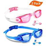 Swim Goggles, Pack of 2, EVERSPORT Swimming Glasses for Adult Men Women Youth Kids Child, Anti-Fog, UV Protection, Shatter-proof, Watertight(Blue&Pink)