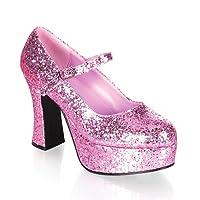 "MARYJANE-50G, 4"" Platform Pump Baby Pink Glitter Size 11"