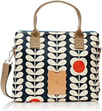 Orla Kiely  Tall Flower Stem Zip Messenger, Sac à bandoulière femme - Bleu - Blue (Ink),