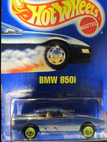 BMW 850i 1993 Hot Wheels #149 Blue with Green Hubs on Solid Blue Card - 1