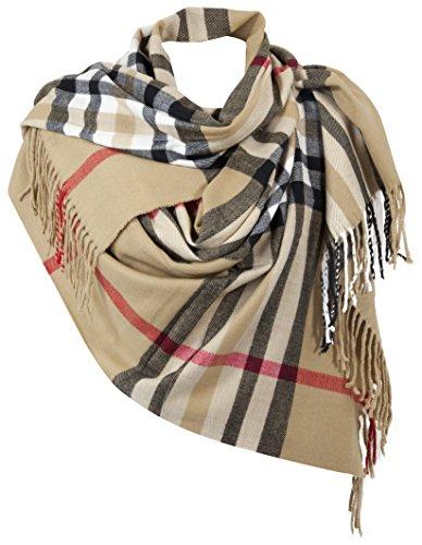 RW Fashion,delle donne Sciarpa - scialli, classico Cashmere & viscosa, - checkered - STK342 (Beige (Camel))