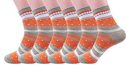 Silkworld Women'S Cotton Colorful Ankle Socks Pack Of 6 Orange Gray