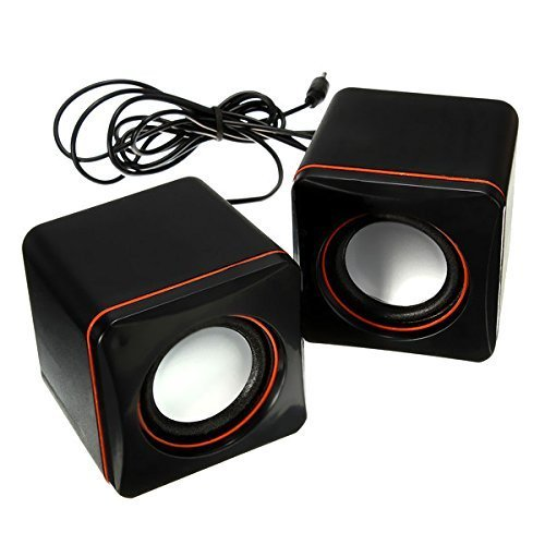Tartarus USB Powered Speakers 3.5mm Stereo Plug, Mini Portable Multimedia Cube Speaker Sound Box for Computers, Laptop/Notebook, Mac, Tablets, Cell Phones, MP3 MP4 Players and More (Black)